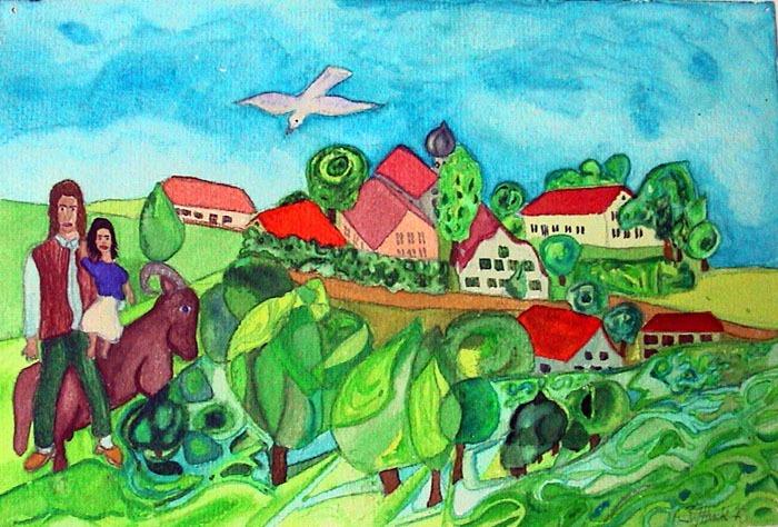 Auf-dem-Weg-zum-Dorf-20x30